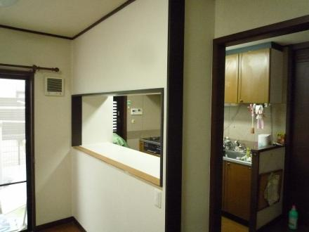 キッチンリフォーム キッチンカウンター取付工事(造作)【やねきハウスのリフォーム】(リフォーム後)
